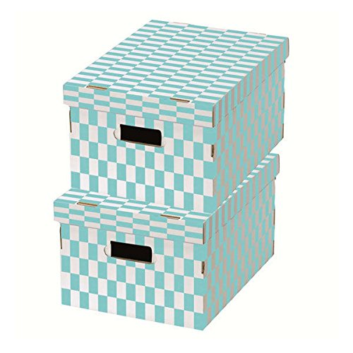 Compactor Check Cajas de almacenaje (cartón, 40 x 31 x 21 cm, Conjunto de 2, Azul/Blanco, cartón, Blue/White, 40.0 x 31.0 x 21.0 cm: Amazon.es: Hogar