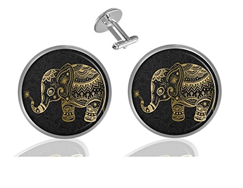 Cufflinks Elephant Gold - ecowcow Gold Floral Elephant Custom Classic Jewelry Tuxedo Shirt Cufflinks Men's Unique Business Gifts