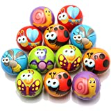 FIVOENDAR 12 Pack Fun Insect Lover Stress Balls Cute Hand Wrist Stress Reliefs Squeeze Balls for Kids and Adults at School or Office Holiday Gift Party Favors (Random Insect Faces)
