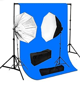 CanadianStudio 2000 Watt Video lighting kit Octagon Softbox light blue muslin backdrop support system with 2 light stands, 10 5500K light bulbs, 2 softboxes and carrying case-FREE SHIPPING FROM CANADA