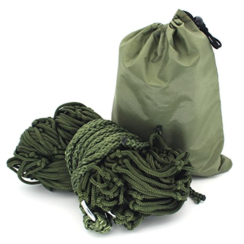 MMM& Nylon Rope Indoor Outdoor Mesh Hamac Net Pocket Swing 260 * 80cm ( Couleur : Army green , taille : A )