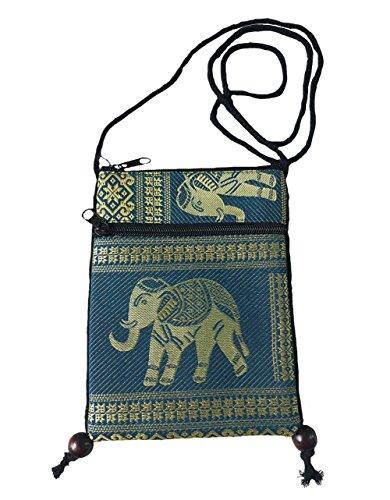 Crossbody BTP Cellphone Passport Teal Cp4 Travel Shoulder Mini Tribal Single Bag Hmong Holder Elephant Bag Pouch Hill Case YaSvwrYnx