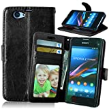 [Black] Z1 Compact Case,Z1 Mini Case,D5503 Wallet Case,M.Jvisun [ID Window] [Photo Slot] PU Synthetic Leather [3 Card Pocket] Stand Feature Magnetic Flip Skin For Sony Xperia Z1 Compact, Z1 Mini D5503