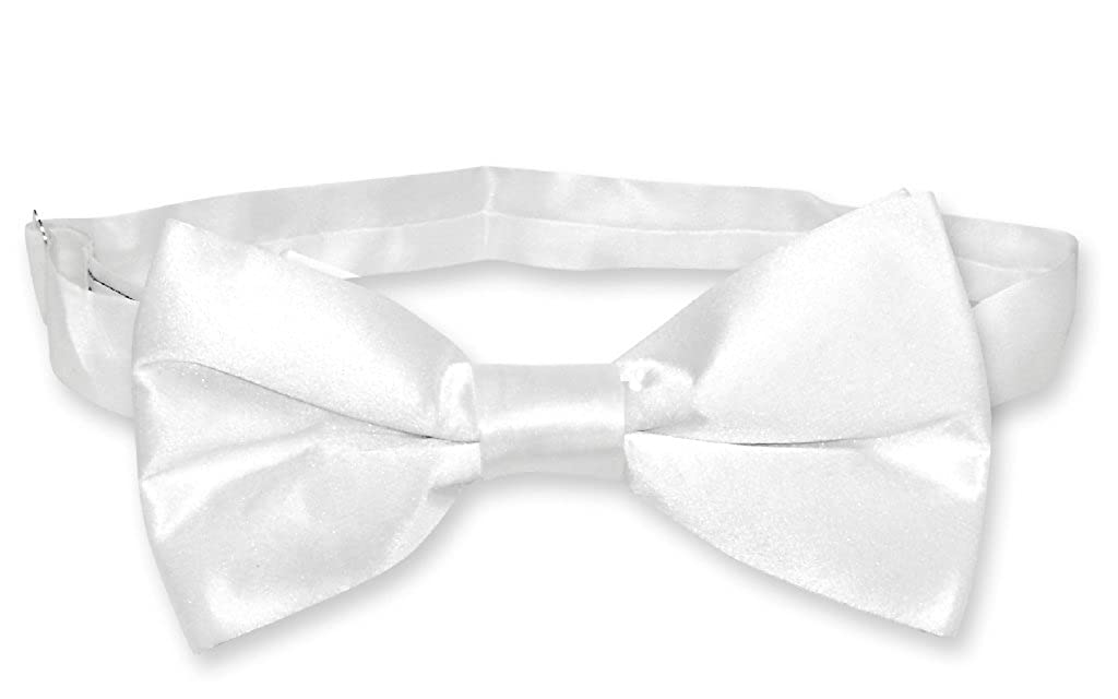 Edwardian Men's Formal Wear BIAGIO 100% SILK BOWTIE Solid WHITE Color Mens Bow Tie for Tuxedo or Suit $12.95 AT vintagedancer.com