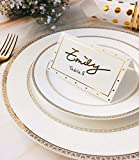 100 Place Cards with Gold Foil | Polka Dots Small
