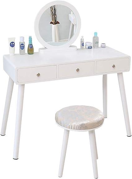 Sarah Coiffeuse avec Tabouret Coiffeuse avec Miroir Rond Blanc Commode Moderne Minimaliste Table de Maquillage avec 2 Tiroirs