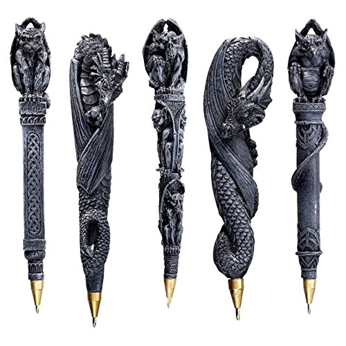 Design Toscano Gargoyles and Dragons Gothic Decor Sculptural Ball Point Pens, 6 Inch, Set of Five, Greystone