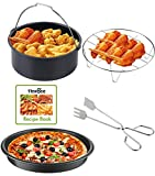 NewBee Universal 4 Piece Air Fryer Accessory Set for Gowise Phillips Cozyna or More Brands, Fit all 3.4QT - 5.3QT - 5.8QT + Recipe Book