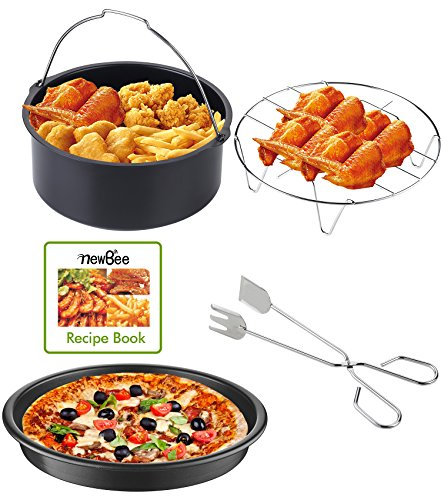 Newbee Universal 4 Piece Air Fryer Accessory Set For Gowise Phillips Cozyna Or More Brands  Fit All 3 4Qt   5 3Qt   5 8Qt   Recipe Book