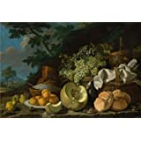 Luis Melendez-The Afternoon Meal,1771  Oil Painting, 24x35 Inch / 61x90 Cm ,printed On Perfect Effect Canvas...