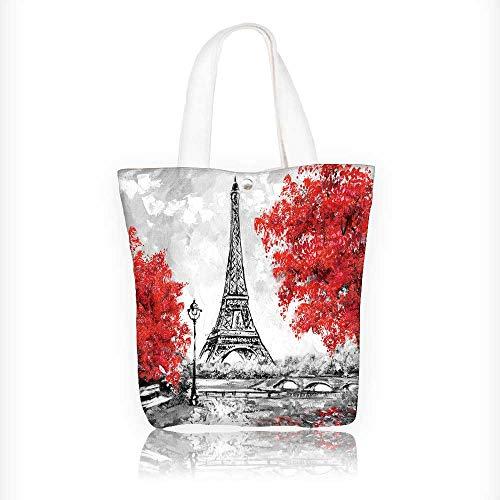 Canvas Zipper Tote Bag Printed oil paint paris european city landscape france wallpaper eiffel tower Reusable Canvas Zipper Tote Bag Printed 100% Cotton W16.5xH14xD7 INCH -