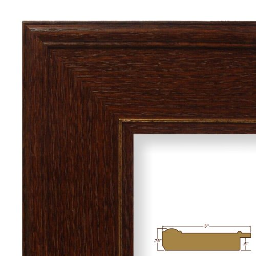 amazoncom 13x14 picture poster frame wood grain finish 3 wide dark brown 80781821