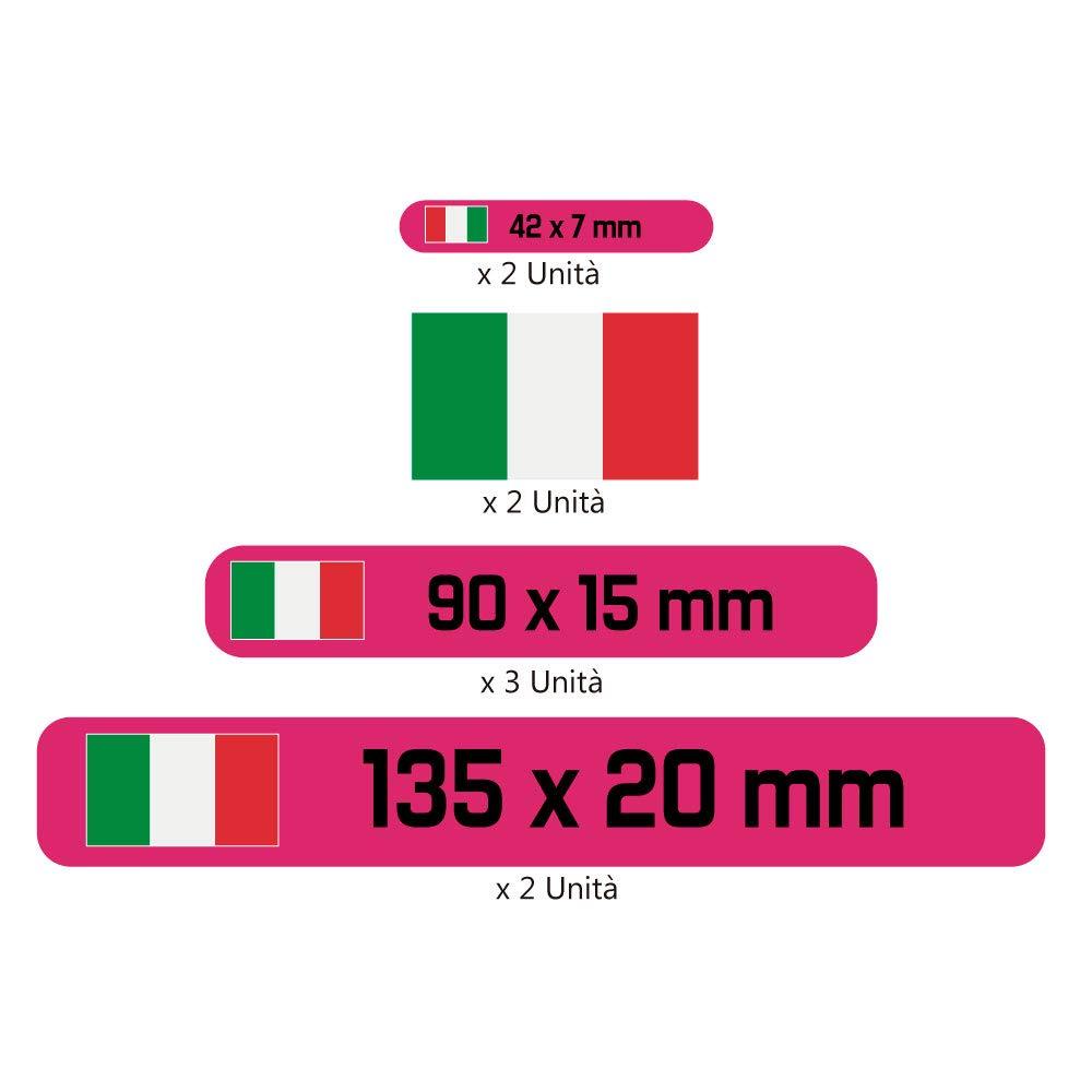 Auto o Bici Haberdashery Online Kit 9 Adesivi Personalizzati per Moto Modello: Bianco Etichette con la Tua Bandiera e Il Tuo Testo