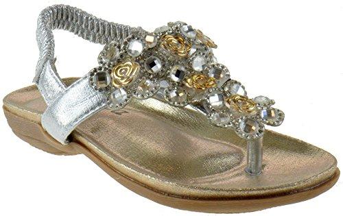 Crab 1716KM Little Girls Gladiator Floral Rhinestone Comfort Flat Sandals Silver 3 ()