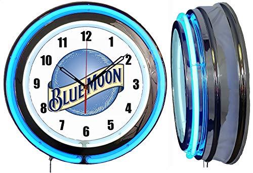"""Checkingtime LLC 19"""" Blue Moon Neon Clock, Two Neon Tubes, Blue Outside Tube"""