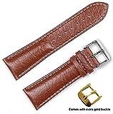 deBeer brand Sport Leather Watch Band (Silver & Gold Buckle) - Havana 22mm (Long Length)