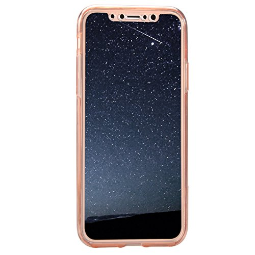 Sunroyal Funda iPhone 10 / iPhone X 5.8 Carcasa Protectora 360 Grados Full Body TPU Gel Transparente Ultra Slim Case Cover Protección Completa Doble Smartphone Móvil Accesorio Sleeve [Resistente a lo Modello 04