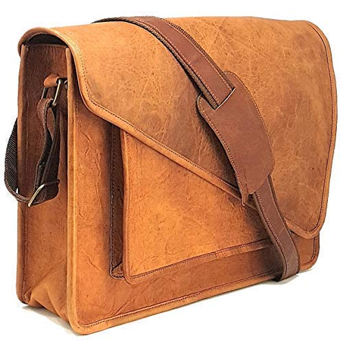 Purple Relic Genuine Leather Office Messenger Bag for 15.6-Inch Laptop and Tablet, Real Leather Flap Satchel for School, College, ()