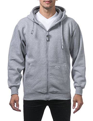 Pro Club Men's Heavyweight Full Zip Fleece Hoodie, Small, Heather Gray ()