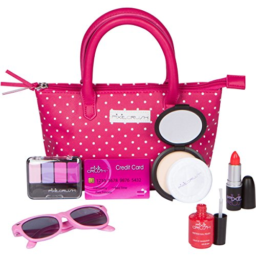 PixieCrush Pretend Play Makeup Purse Kit For Girls - Realistic Cosmetic Toys, Lipstick, Nail Polish, Sunglasses & More - Improve Imagination & Creativity, Build Emotional & Social Skills … New Fashion Makeup Kit