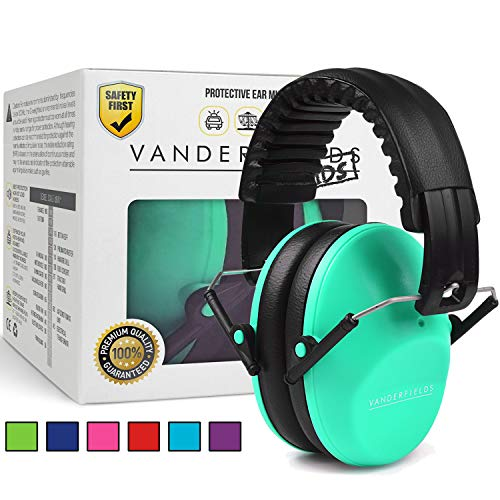 Earmuffs for Kids Toddlers Children - Hearing Protection Ear Defenders for Small Adults Women - Foldable Design Ear Defenders Adjustable Padded Headband Noise Reduction (Turquoise Touch) by Vanderfields