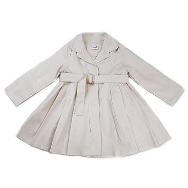 0dc2ae3ab Amazon.com  wenchoice Girls Ivory Crease Wind-Resistant Belted Coat ...