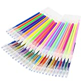 SunAngel 48 Colored Diamond Head Gel Ink Pen Refills, Colors Included: Pastel, Neon, Metallic and Glitter, 0.8-1.0mm Fine Point, Pack of 48