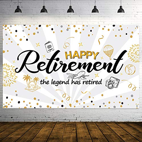 Happy Retirement Party Decorations,Extra Large Fabric Black Gold Sign Poster for Retirement Party Supplies,Happy Retirement Banner Retirement Party Photo Booth Backdrop Background Banner