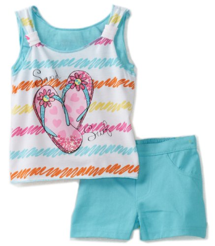 Young Hearts Baby Girls' Flip Flop Screenprint Tunic With Twill Shorts