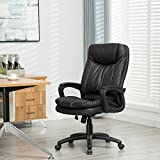 Sunmae High Back Office Chair, Ergonomic PU Leather Executive Chair, Adjustable Computer Desk Swivel Chair - Black