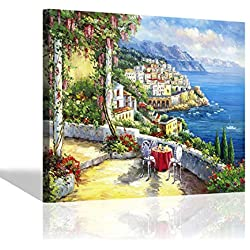Italy Town Painting Wall Art: Italian Coastal View Landscape Picture Artwork Hand Painted on Canvas Art for Kitchen (24'' x 18'' x 1 Panel)