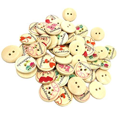 Fityle 2穴ボタン 縫製 手芸 木製 丸型 約50個の商品画像