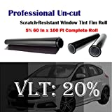 Uncut Roll Window Tint Film 20% VLT 60'' In x 100' Ft Feet (60 X 1200 Inch) Car Home Office Glass