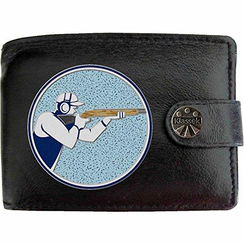 Shooting Shotgun Clay Schrotflinte Ton zu schießen Klassek Herren Geldbörse Portemonnaie Brieftasche Schrotflinte Sport aus echtem Leder schwarz Geschenk Präsent mit Metall Box