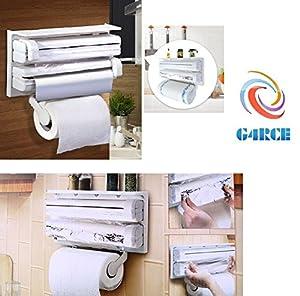 G4RCE® 3 In 1 Triple Paper Dispenser Kitchen Roll Holder Mount For Cling  Film Kitchen Towel Wrap Aluminium Foil Dispenser Wall Mounted