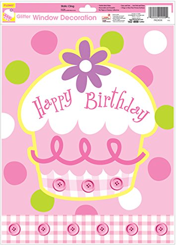 Birthday Girl Pink Cupcake Glitter Window Cling Decoration Case Pack 36