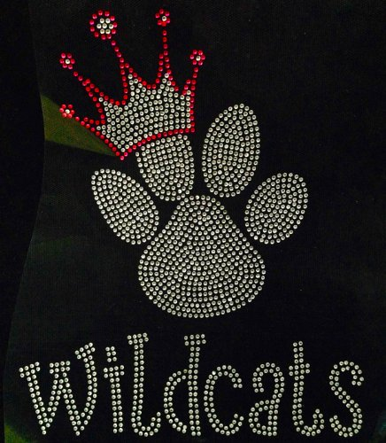 Wildcats Glitter (Paw with Crown Wildcats Rhinestone Transfer Iron On)