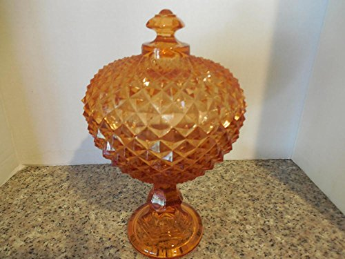 Vintage Weatmoreland Amber Saw Tooth English Hobnail Compote with Lid - Fenton Hobnail Compote