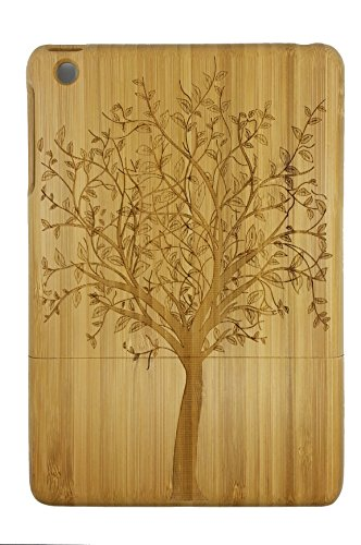 Unique Laser Engraved Tree of Life Pattern Eco-Friendly 100% Hand-made Real Natural Bamboo Hard Shell Case for iPAD Mini 1 (iPad Mini1-2)
