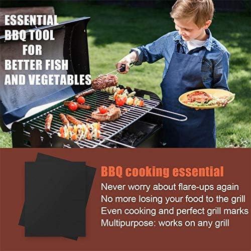 Aexit Tapis de Cuisson Tapis BBQ Barbecue Plaque Feuille de Cuisson Four pour Barbecue gaz Charbon électrique 100% Anti-adhérent (6 pièces, Noir, 40 cm x 33 cm)
