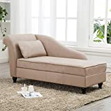 Chaise Lounge Storage Sofa Chair Couch for Bedroom or Living Room Light Tan