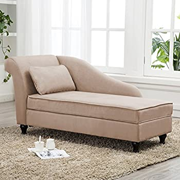 tongli chaise lounge storage sofa chair couch for bedroom or living room light tan