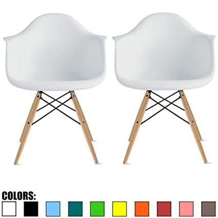 2xhome Set Of 2 White Desk Chairs Mid Century Modern Plastic Dining Chair Molded Arms Armchairs Natural Wood Legs Desk No Wheels Accent Vintage