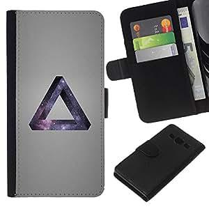 KLONGSHOP // Tirón de la caja Cartera de cuero con ranuras para tarjetas - Galaxia Triángulo - Samsung Galaxy A3 //