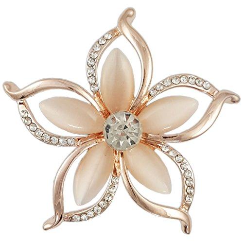 CRYSTAL ROSE GOLD PINK MODERN PLUMERIA FLOWER BROOCH MADE W/ SWAROVSKI ELEMENTS ()