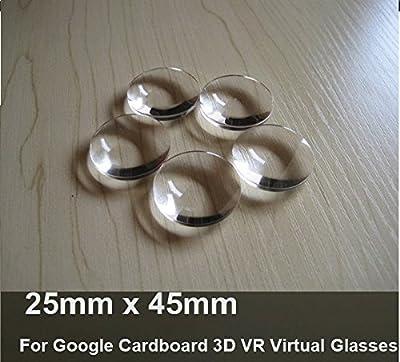 Angelduck 2 Pcs 25mm x 45mm Biconvex Lenses for Google Cardboard 3D VR Virtual Glasses
