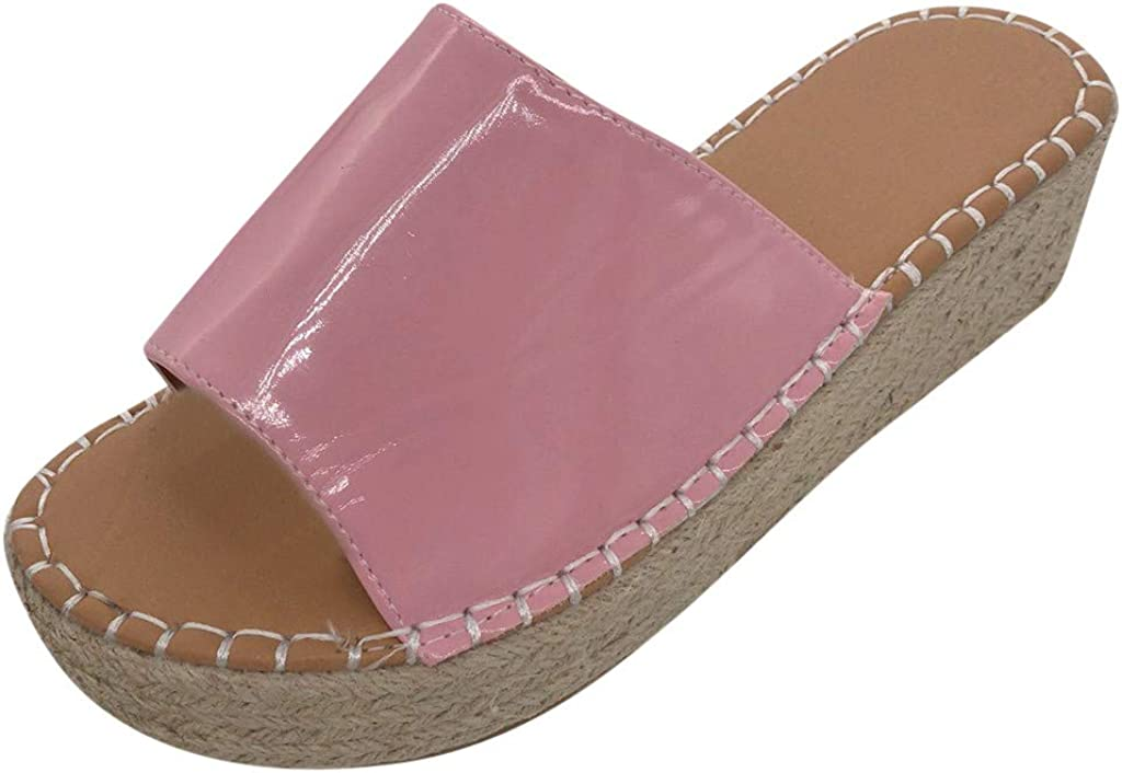 Kinglly Womens Cork Wedges Shoes Open Toe Thick Bottom Roman Slippers Beach Sandals