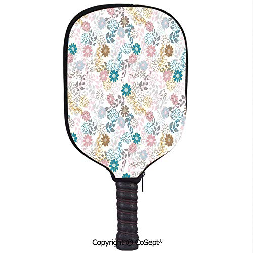 Neoprene Pickleball Paddle Cover,Cute Pastel Daisies and Leaves Blooming Retro Style Foliage Spring Color Palette Decorative,Fit for Most Rackets and Protect Your Paddle(8.26x11.61 inch) Multicolor