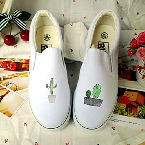 De Blancas Transpirable Libre Plataforma Mano Casuales Deporte Pintados Aire Lienzos A Ysfu Al Zapatos Mujer Zapatillas Otoño Gimnasio 5xqIZS1n