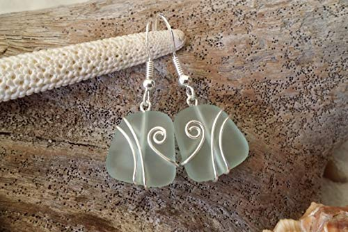 Handmade jewelry in Hawaii,wire wrapped seafoam sea glass earrings, sterling silver hooks, Hawaiian Gift, FREE gift wrap, FREE gift message, FREE shipping